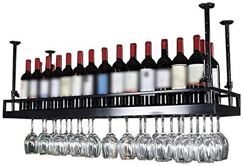 Feeyond Estante De Vino De Metal Montado En La Pared para Colgar En El Techo Estante De Copa De Vino Decoración De Estante Bar Restaurante Cocina,150 * 35cm