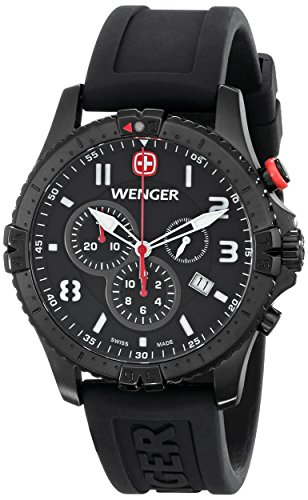 Wenger Men's 77053 Squadron Black Ion-Plated Stainless Steel Watch with Black Rubber Band