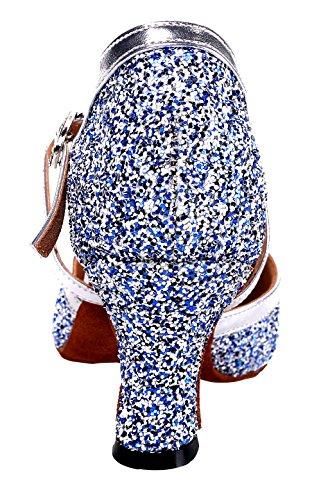Honeystore Frauen's Funkelnde Glitzer Heels Absatzschuhe Moderne Tanzschuhe Blau - 4
