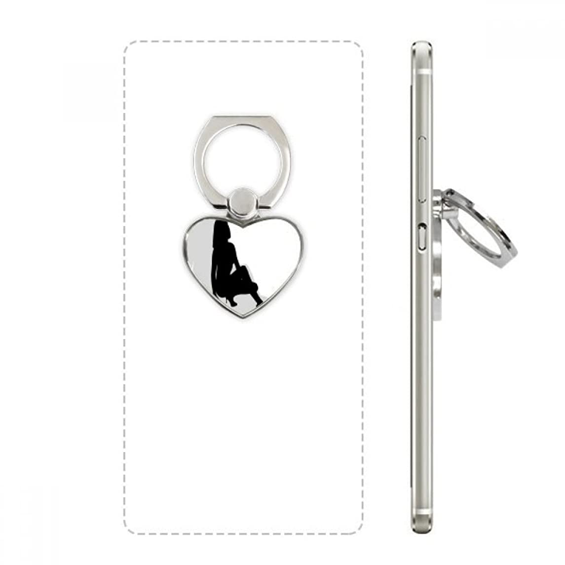 Hot Woman Squats Silhouette Heart Cell Phone Ring Stand Holder Bracket Universal Support Gift