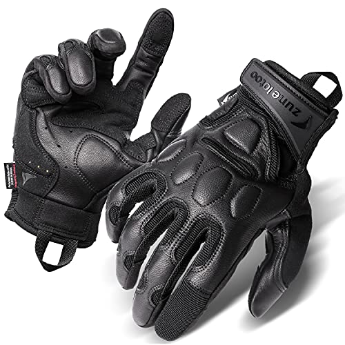 Zune Lotoo Geniune Leather Tactical Full Finger Motorcycle...