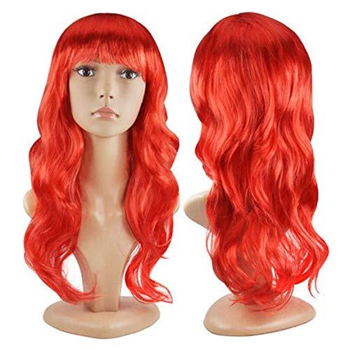 Lange lockige Abendkleid-Perücken Cosplay-Kostüm-Damen Perücke-Partei der neuen Frauen - Rot (50 cm)