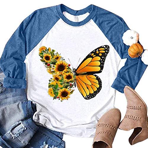 DNOQN Frauen Lässig Schmetterling Sonnenblume Gedruckt Raglan Langarm Shirts Bluse Tops