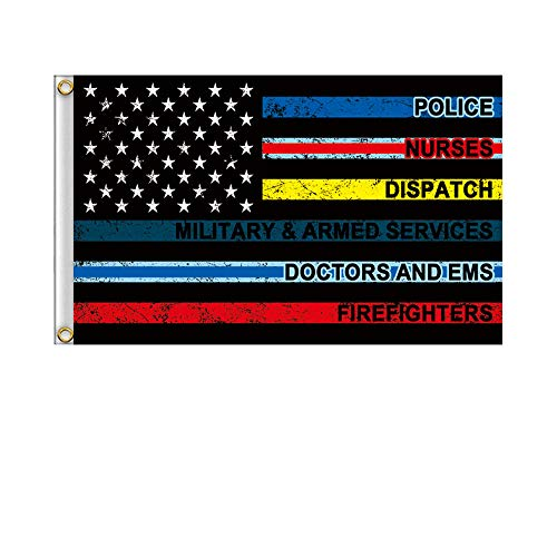 HomShional No One Fights Alone Flag 3x5 American Flag Garden Flags with Thin Blue Line Flag for Supporting Nurse Police Military