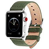 Fullmosa Kompatibel Apple Watch Armband 42mm 44mm in 8 Farben, Stoff Leinen Style für iwatch Armband 42mm Serie 5/4/3/2/1, Armeegrün 42mm/44mm