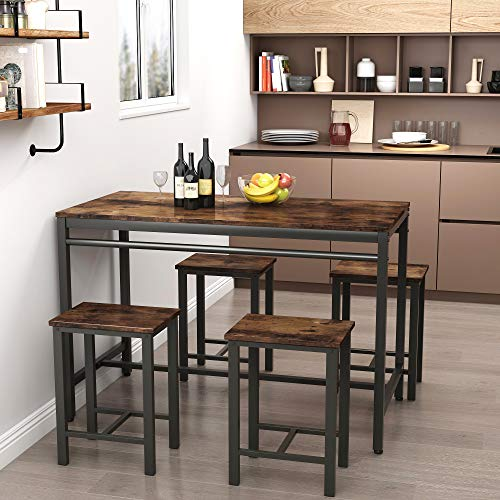 Recaceik 5 PCS Dining Table Set, Modern Kitchen Table and Chairs for 4, Wood Pub Bar Table Set Perfect for Breakfast Nook, Small Space Living Room(Brown)