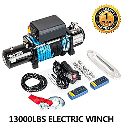 Electric Winch 12V 13000 lbs Recovery Winch Trailer Truck SUV ATV Synthetic Rope With Wireless Remote Control Kit