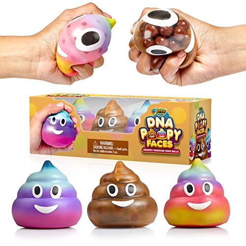 Poop Emoji DNA Stress Ball by YoYa Toys - 3-Pack - Squeezing, Anxiety Relief Ball for Kids and Adults - Squishy Toys for Autism, Fidgeting, ADHD, Quitting Bad Habits and More - Sensory Rubber Ball