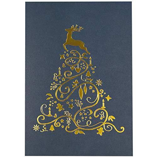 Weihnachtskarten 'Lucia Blau' - 10er Set Weihnachtsgrußkarten in Blau mit Goldfolie inkl. passender Einlegeblätter zum Selbstbedrucken