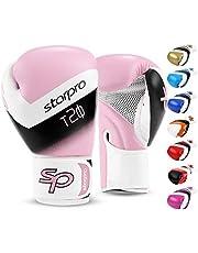 Starpro T20 Guantes de Boxeo de Cuero de PU para Entrenamiento y Sparring en Muay Thai Kickboxing Fitness - Hombres y Mujeres - Múltiples Colores - 8oz 10 oz 12 oz 14 oz 16 oz