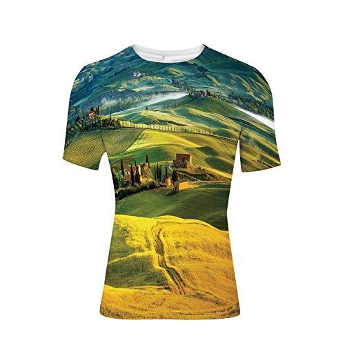 T-Shirts Tops, Toskana Straße und Zypressen zum mittelalterlichen Bauernhaus, Mens 3D Print