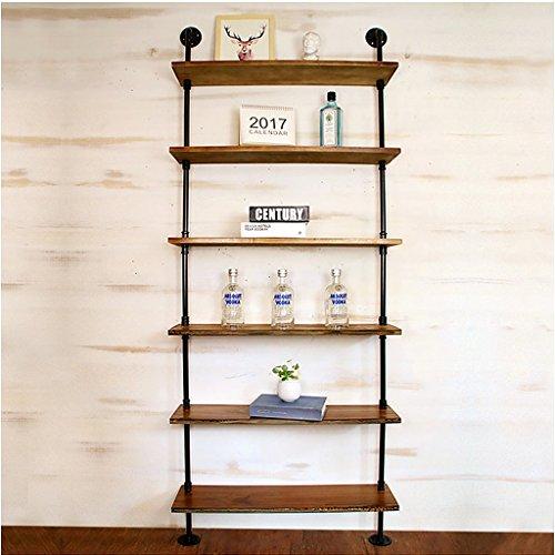 ZHEN GUO Industrial Pipe Boekenplanken Home Organizer Opslag, Zwart Metaal & Hout Rustiek Drijvend Boek Planken Muur gemonteerd, Vintage Decoratieve, Iron Bookacses