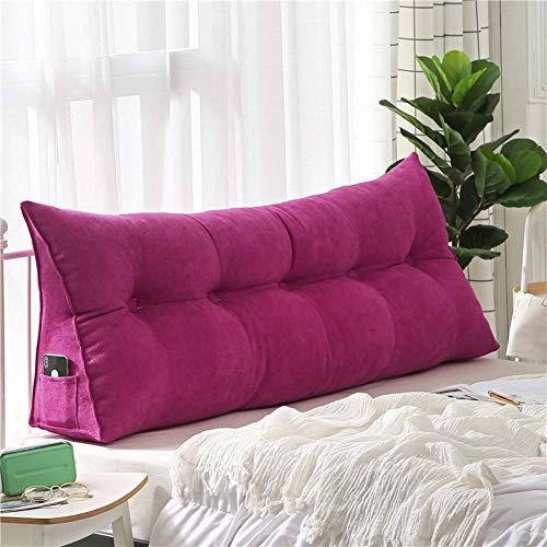 Almohada suave de la lectura del cabecero de la felpa del color sólido, cojín de la cabecera de la almohada de la posición de la almohada con la cubierta desprendible 80x20x50cm
