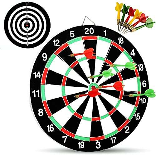 Planet of Toys Dartboard with Dart Toys for Kids Wooden Dart Board with 6 Dart Target Game with Dart Board