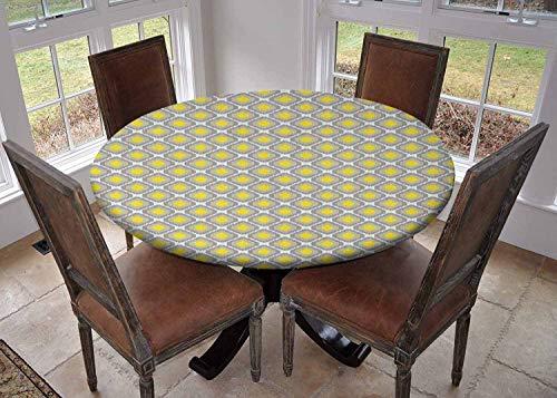 Ronde tafelkleed keuken decoratie, tafelblad met elastische randen, Geometrische Illustratie Gebogen Lijnen Ovale Vormen Traditionele Zuidoost-Motieven Maroon Wit, Bruiloft tafelkleed