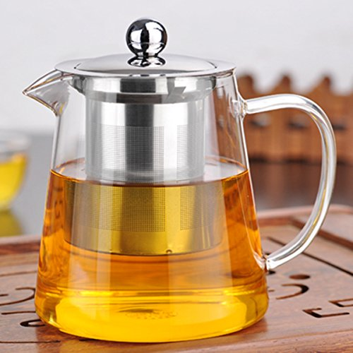 Inovey 750/950Ml helder hittebestendig glas thee pot roestvrij staal Infuser Filter