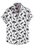 Floerns Men's Striped Shirts Casual Short Sleeve Button Down Shirts White Pineapple M