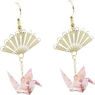 Crane Origami Bird Fan Dangle Cute Pretty Earrings
