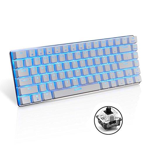 UrChoiceLtd AK33 Blaue LED-Hintergrundbeleuchtung Anti-Ghosting USB-Kabel Mechanische Gaming-Tastatur Schwarze Schalter für Büro, Schreibkräfte und Spiele (schwarzer Schalter, weiß)