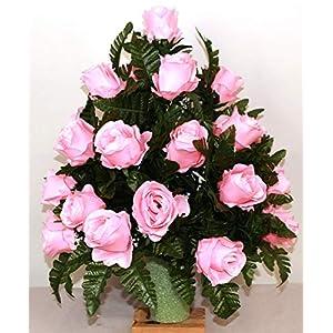 XL Pink Roses Artificial Silk Flower Cemetery Bouquet Vase Arrangement