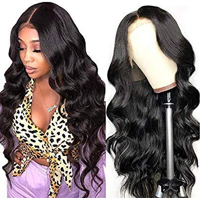 perruque cheveux humain bresilienne curly 360 lace frontal human hair wigs perruque femme vrai cheveux naturels body wave black 24 inch Noir naturel