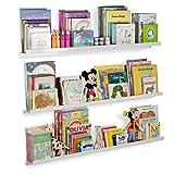Wallniture Flotante estantes Nursery estantería Pantalla Metal Ledges Color Blanco 46cm Conjunto de 3