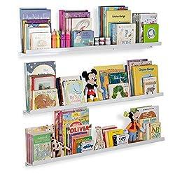 white wall ledges holding children's books