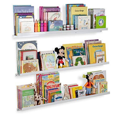Wallniture Floating Shelves for Nursery and Metal Wall Mount Book Display Ledges Aluminum White 46...