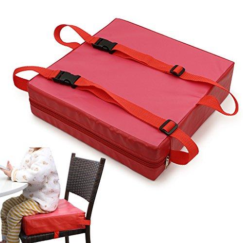 Sumnacon 食事 クッション こども 座布団 椅子用 クッション こども 高さ調節 チェアクッション 子供 ひも付き (ピンク+レッド)