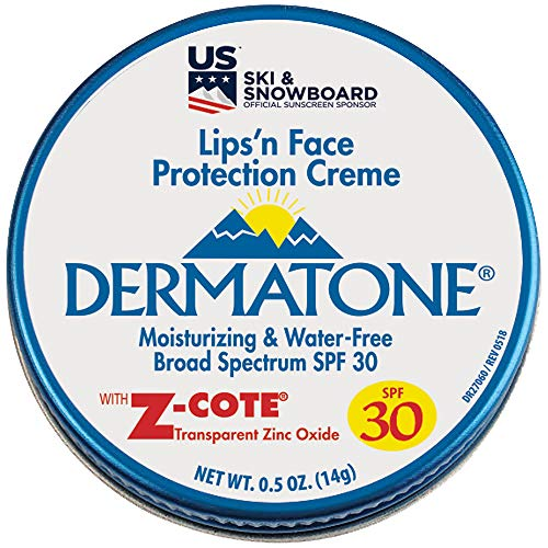 Dermatone Mini Tin w/Z-Cote SPF 30 Lips and Face Protection Crème  UVA/UVB Broad-Spectrum SPF30 Protection   Protects against Chapping, Windburn, Sunburn, and Frostbite 0.50 oz