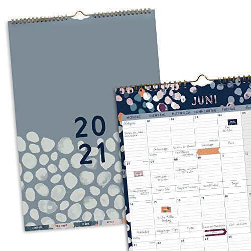 Boxclever Press Perfect Year A3 Kalender 2021. Wandkalender 2021 Groß mit Monatstaben. Kalender 2021 Familienplaner von Jan.-Dez.'21. Geräumiger Monatskalender 2021 mit Tasche & Stickern.
