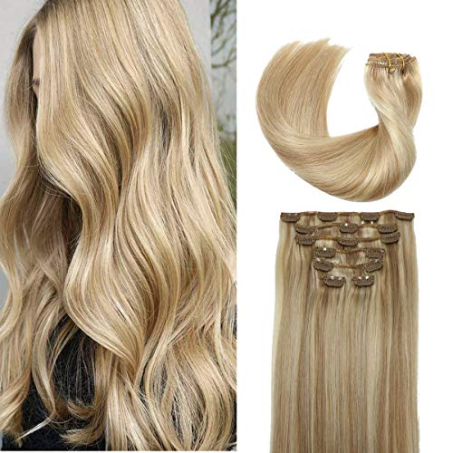 Hair Extensions Clip in Human Hair Light Golden Brown Mixed with Bleached Blonde Remy Clip in Human Hair Extensions 8A Brazilian Huaman Hair Extensions Straight Real Hair Extensions 15' 7pcs 70g/set