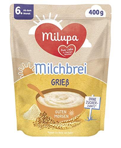 Milupa Milchbrei Grieß, Babybrei ohne Zuckerzusatz, Babynahrung ab dem 6. Monat (4 x 400 g)
