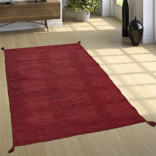 Paco Home Designer Teppich Webteppich Kelim Handgewebt 100% Baumwolle Modern Meliert Rot, Grösse:60x110 cm