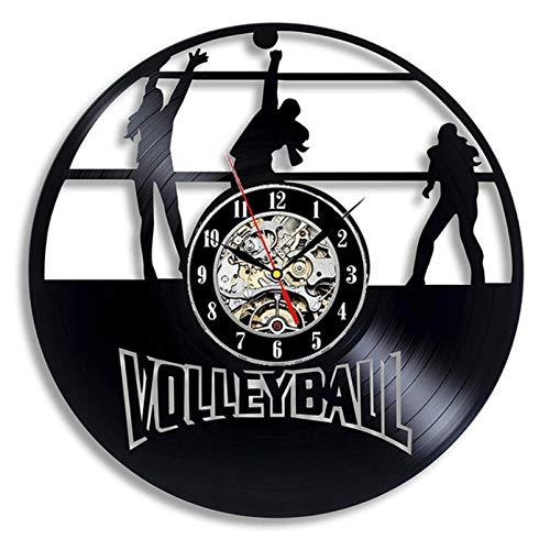 GenericBrands Disco de Vinilo Reloj de Pared Voleibol 3D Vintage De Decoración del Hogar Diseño Moderno Reloj De Vinilo Colgante Reloj De Pared Reloj Único 12 Pulgadas - con Luces LED