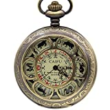 J-Love 12 Zodiac Pocket Watch Halskette Anhänger Automatische mechanische Handaufzug Herren Fob Uhr