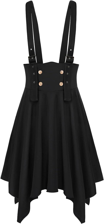 Steampunk Plus Size Clothing & Costumes Hanna Nikole Women Plus Size Suspender Braces Skirt High Waist Overall Pinafore Dress  AT vintagedancer.com