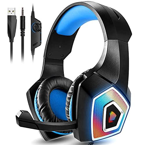 Gaming Headset, Kopfhörer mit Mikrofon für PS4 PS5 Xbox PC Switch Gaming Headset mit Geräuschunterdrückung LED-Licht und 3.5mm Doppelklinke Kabel kompatibel mit PC Laptop Mac