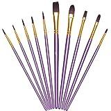 Vicloon Pinceles para Pintura, 10 Piezas of Pinceles de Nylon para acuarela, óleo, dibujo de líneas, Set de Pinceles de Artista para principiantes, profesionales y amantes de la pintura (Púrpura)