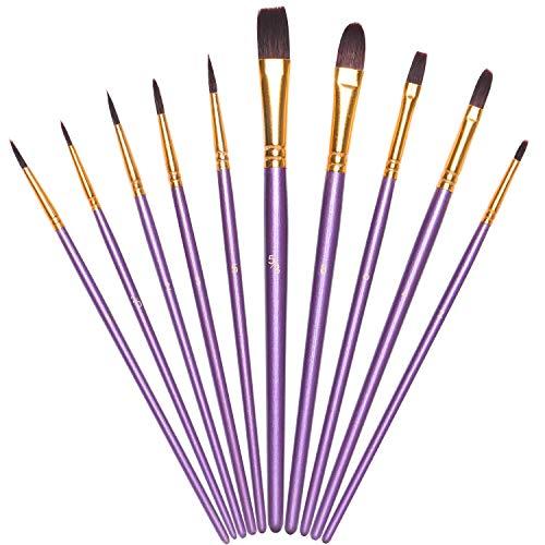 Vicloon Pennelli da Pittura, 10 Pezzi Pennelli per Dipingere di Nylon, Artista Pennello Set di...