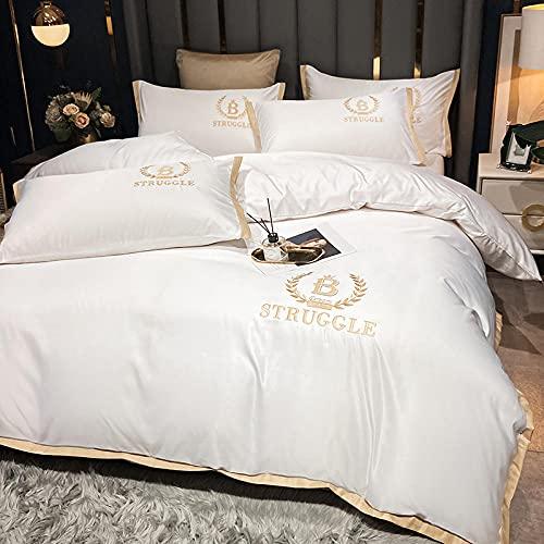 funda de edredón 220x240,Lavar el conjunto de cuatro piezas de seda, cómoda sedosa cama de verano reversible de una sola almohada de la cama de la almohada Suministros de cama regalo-U_Cama de 2.0 m