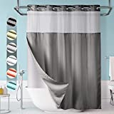 Lagute SnapHook Hook Free Shower Curtain with Snap-in Liner & See Through Top Window | Hotel Grade, Machine Washable | 71Wx74L, Gray