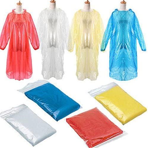 Disposable Raincoat - 10 Pieces Disposable Raincoat Adult Emergency Waterproof Rain Coat Poncho Outdoors Hiking Camping Hood - RANDOM COLOR