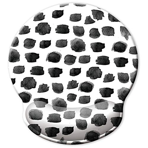 ITNRSIIET [30% Larger] Ergonomic Mouse Pad with Gel Wrist Rest Support, Polka Dot Print Desgin, Dot Pattern, Cute Mousepad, Cute Desk Accessories, Pain Relief Wrist Rest Pad with Non-Slip PU Base