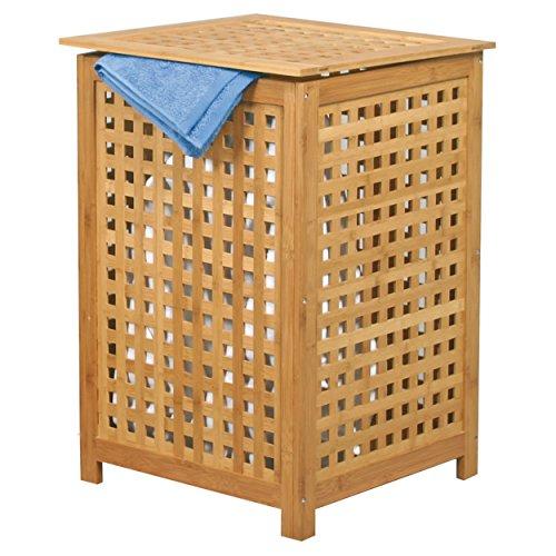 MSV Wasmand van bamboe, 40 x 40 x 58 cm, als waszak met luchtdoorlatend deksel en uitneembare waszak, natuur