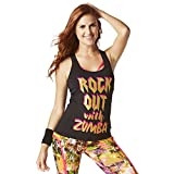 Zumba Athletic Graphic Design Dance Workout Racerback Black Tank Top for Women Slim