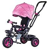 Mondial Toys Triciclo Passeggino Pieghevole 4 in 1 con SEGGIOLINO Reversibile MANIGLIONE DIREZIONABILE Ruote in Gomma CAPPOTTINA Parasole Pink