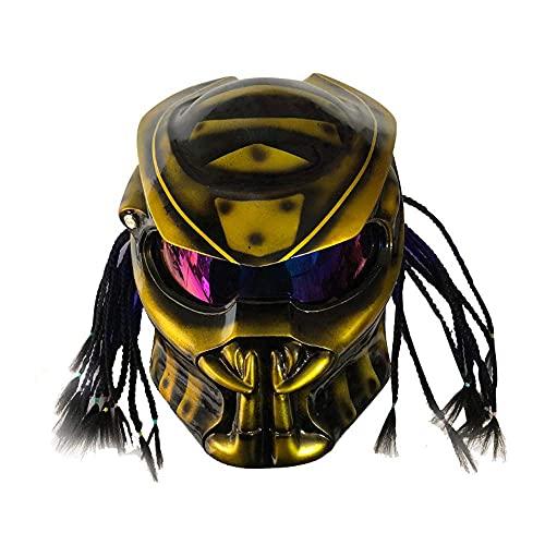 JFIOSD Casco Moto Predator Maschera Integrale Fibra di Carbonio Iron Man Trecce con Frange Luce LCD e Microfono con Auricolare Incorporato, Omologato ECE Incluso, M