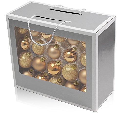 Set di 42 palle di Natale Ø5/5,5/6,5cm vetro oro ornamento per l'albero di Natale decorazione di Natale decorazione per l'abete
