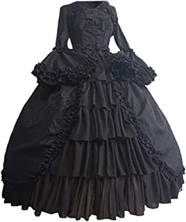 WUAI-Women Gothic Dress, Gothic Cosplay Dress Vintage Renaissance Dress Halloween Lolita Witch Dress